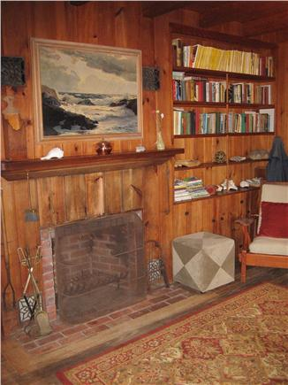 Wellfleet Cape Cod vacation rental - Living Room Fireplace and Library