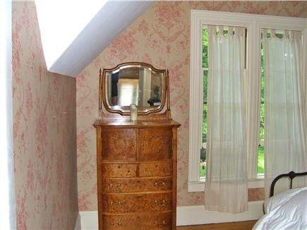 Yarmouthport Cape Cod vacation rental - Vintage-inspired wall papered bedroom with queen bed