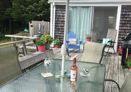 Orleans Cape Cod vacation rental - Spacious deck has plenty of seating, both charcoal and gas grills