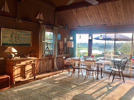 Orleans Cape Cod vacation rental - Large living/dining room features ceiling fan, telescope and...