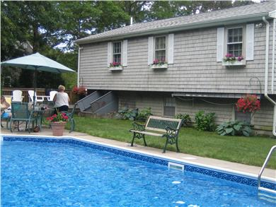 Sandwich Cape Cod vacation rental - Pool facing back of house.Three windows are three bedrooms.