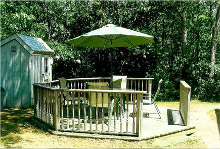 Dennisport Cape Cod vacation rental - Spacious detached deck with patio set