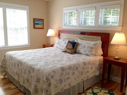 South Orleans Cape Cod vacation rental - First Floor Bedroom with New Kingsize Bed and Ceiling Fan