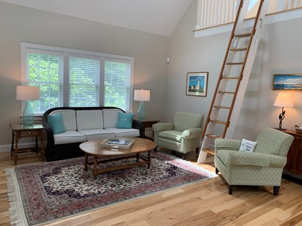 South Orleans Cape Cod vacation rental - Living Area with Vaulted Ceiling, Central A/C, and Ceiling Fan
