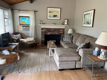 Wellfleet Cape Cod vacation rental - Living area with view of the bay.Flat-screen TV. Cable. WiFi.