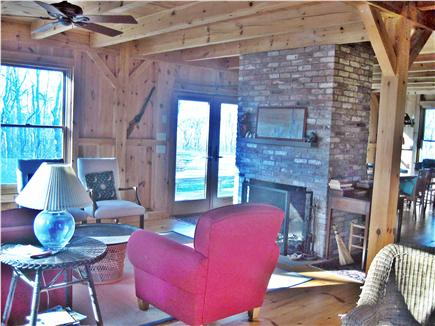 West Harwich Cape Cod vacation rental - Open living area with fireplace