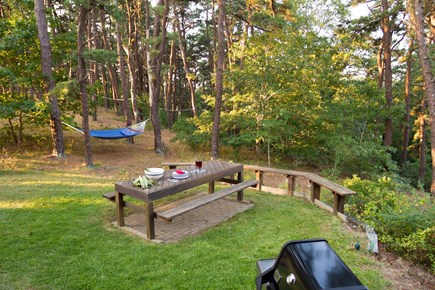South Truro MA Cape Cod vacation rental - Just outside the main door is a picnic table, grill and hammock