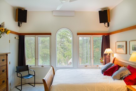 South Truro MA Cape Cod vacation rental - BR (next to bath) has ceiling fan, stereo speakers