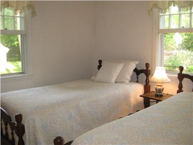 Falmouth Cape Cod vacation rental - The south bedroom has 2 twin beds and a ceiling fan.