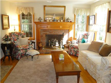 Chatham Cape Cod vacation rental - Living room with fireplace and A/C unit