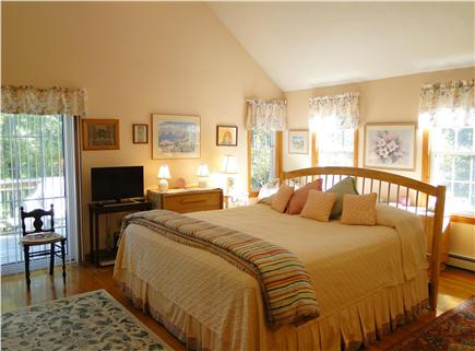 Chatham Cape Cod vacation rental - Large King Master bedroom w/ ceiling fan, slider to own deck, A/C