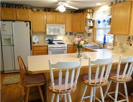 Chatham Cape Cod vacation rental - Kitchen with all appliances, breakfast bar & celling fan
