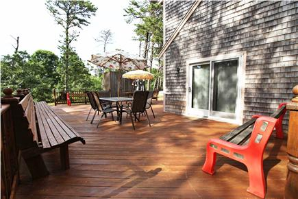 Eastham Cape Cod vacation rental - Large wrap-around deck w/ample seating & outdoor shower