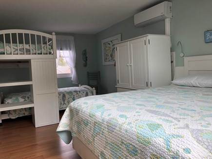 West Harwich Cape Cod vacation rental - Bunk beds and queen bed and with cedar closet upstairs.