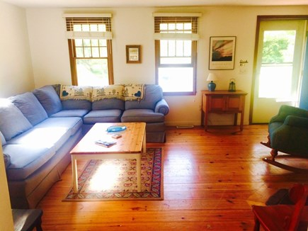 Eastham Cape Cod vacation rental - Living room with wide pine flooring and plenty of seating
