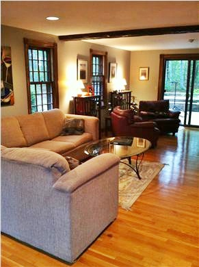 Brewster Cape Cod vacation rental - Living room has a 6' slider looking out on Nickerson State Park