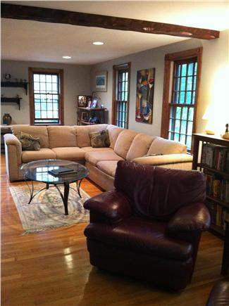 Brewster Cape Cod vacation rental - Living room fireplace area
