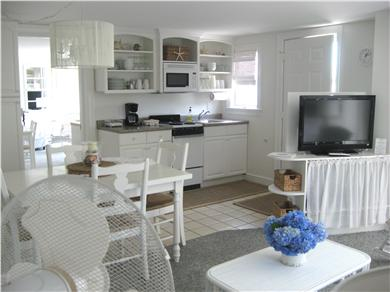 West Yarmouth Cape Cod vacation rental - Living Room with flat screen TV and open to kitchen/dining area.