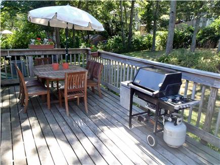 Hyannis Cape Cod vacation rental - Deck, teak seating for 6, Weber Gas grill