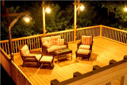 Orleans Cape Cod vacation rental - Nightime view of lower deck, from upper deck
