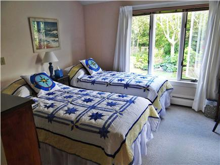 Falmouth, Woods Hole/Sippewissett Cape Cod vacation rental - The guest room with X-long twins overlooks the spacious back yard