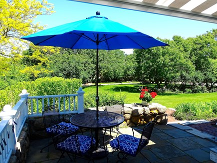 Falmouth, Woods Hole/Sippewissett/Gunnin Cape Cod vacation rental - The  spacious, private patio overlooks the beautiful garden