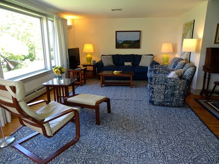 Falmouth, Woods Hole/Sippewissett/Gunnin Cape Cod vacation rental - The light, comfortable living room offers glimpses of the ocean