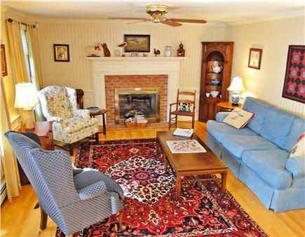 Dennis Village Cape Cod vacation rental - Comfortable yet elegant living room with gas fireplace