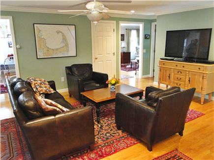 Dennis Village Cape Cod vacation rental - Sitting room with leather seating and large HD flat-screen TV