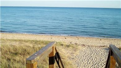 Mashpee Cape Cod vacation rental - View at of top of stairs that lead down to semi-private beach