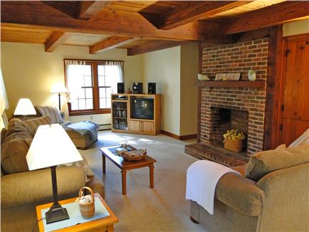 Brewster Cape Cod vacation rental - Comfortable living room with fireplace and TV