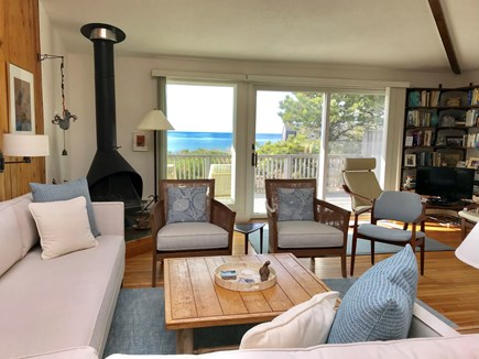 North Truro Cape Cod vacation rental - Living room with expansive view of Cape Cod bay, second floor