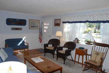 Dennisport... 3/4 mi to Sound  Cape Cod vacation rental - Bright lovely living room with a sofa-bed And BIG screen TV