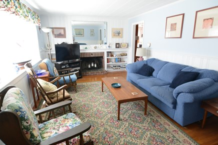 Dennisport... 3/4 mi to Sound  Cape Cod vacation rental - Living room with large TV