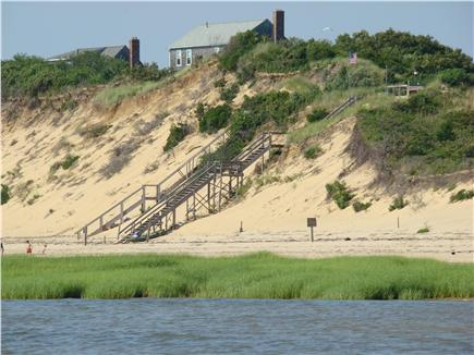 Eastham Cape Cod vacation rental - View from the beach, with the stairs in the background.