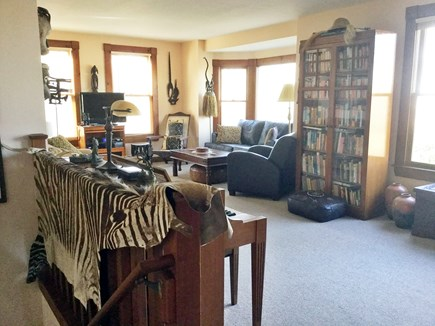 West Falmouth Cape Cod vacation rental - Family/TV room with large windows to water