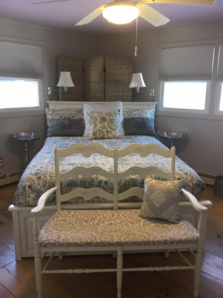 Sandwich Cape Cod vacation rental - First fl bedroom queen bed,tv,ceiling fan, window AC,4 windows
