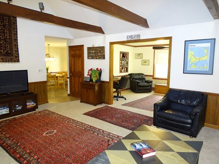 Brewster Cape Cod vacation rental - Family room with flat screen TV, open to Den and Dining area