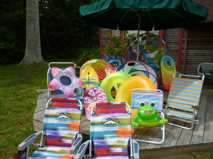 Barnstable Cape Cod vacation rental - Beach fun! Chairs, boogie boards, floats, and one HUGE beach ball