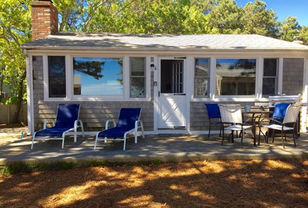 Wellfleet Cape Cod vacation rental - Patio with view and nice furniture, grill, lounge chairs
