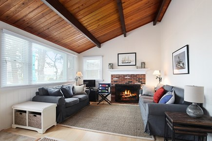 Wellfleet Cape Cod vacation rental - Living room with water view, cathedral ceilings
