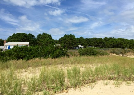Wellfleet Cape Cod vacation rental - View of cottages from beach
