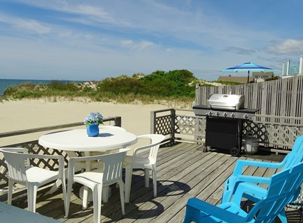 West Dennis Cape Cod vacation rental - Extra large deck w/ picnic table, umbrella, lounge chairs, grill