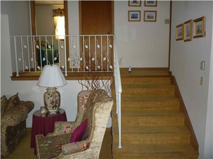 Falmouth Cape Cod vacation rental - Stairway from Living Room to Bedrooms and Bathrooms
