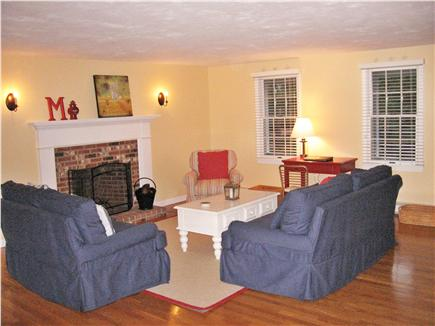 Dennis Cape Cod vacation rental - Living room with working fireplace.