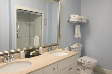 Hyannis, at Cape Codder Resort & Spa Cape Cod vacation rental - 2nd Guest Bathroom - 14-jet streams shower and heated floor