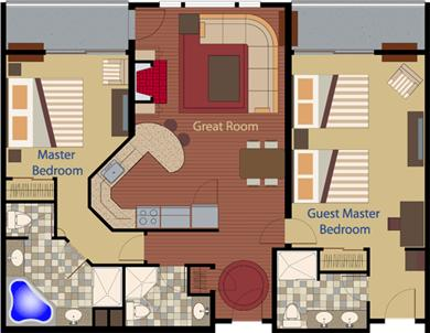 Hyannis, at Cape Codder Resort & Spa Cape Cod vacation rental - Private Residence Two Bedrooms Floor Plan