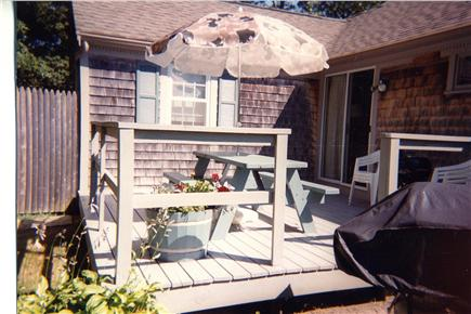 South Yarmouth Cape Cod vacation rental - Deck with outdoor shower in background