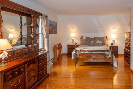 Truro Cape Cod vacation rental - Upstairs bedroom #2 w/queen bed decorated in a seashell theme.