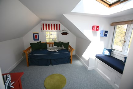 East Orleans Cape Cod vacation rental - 2nd floor -Shark- room. Window bench w/ocean views.